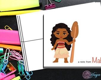 Moana inspired Notes / Custom Moana girl Stationery / Lua Girl princess Stationery Set / Girl Thank You Cards / Set of 12 Kid Notes