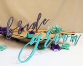 Personalized Wood Cut Out Wedding Signs, Custom Script Words, Reception Decor, Table Markers, Venue Details, Sweetheart Table Chair Signs
