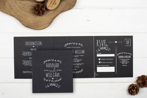 Rustic Wedding Invitation - Double-Folded Rustic Chalkboard