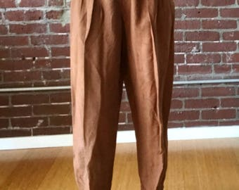Vintage 80s Brown High Waisted Pants, Wide Leg Tapered Cut, Wood Buttons