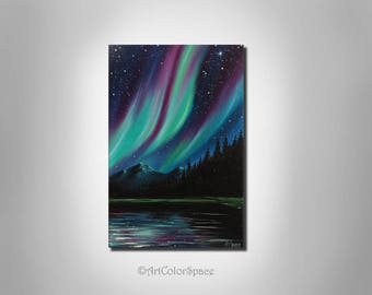 Aurora borealis Northern lights Mountains Starry sky Southern Lights Australia Galaxy painting Oil painting on canvas Lake Forest painting