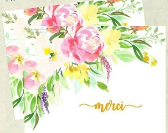 Thank You Card - Pink Floral Banner - Merci - French Notecard - Notecard Set - Stationery