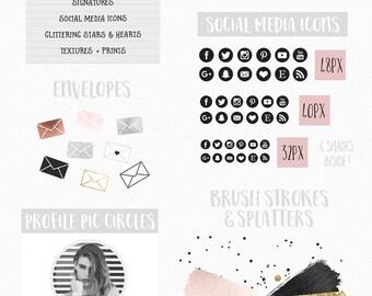Blog Design Kit - Blogging Graphics - Rose Gold - Watercolor - Social Media - Blogger - Blog Kit - Buttons