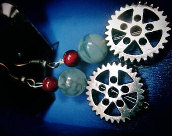 Gothic Steampunk Elegant Beaded Gear Dangle Earrings