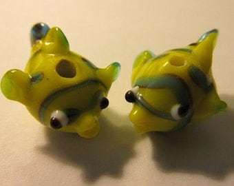 Lampwork Blue and Yellow Glass Fish Beads with Stripes and Polka Dots, 20mm, Set of 2
