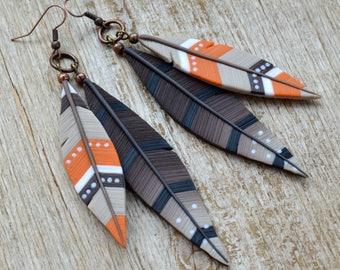 Feather earrings Long earrings Southwestern jewelry Feather jewelry Native jewelry Southwestern earring Western jewelry Polymer clay jewelry