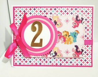 My Little Pony Birthday Card, My Little Pony, Birthday Card, Handmade Birthday Card, Birthday Card for Her, Girl Birthday Card