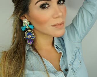 Hamsa Earrings, Patches Earrings, Hamsa, Hamsa Hand Earrings, Statement Earrings, Dangle Earrings, Patch Earrings, Blue Tassel,Fashion, Gift
