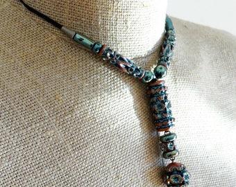 Bohemian choker pendant bohemian girlfriend necklace wife mother long clay necklace drop pendant OOAK handmade