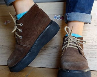 Ankle boots chunky shoes lace up plats womens platform boots booties brown lace-up boots suede size EU 37 US 7 vintage 90s
