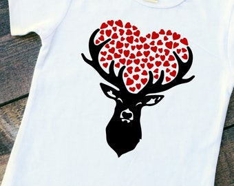 Deer love baby girl boy bodysuit toddler girl boy tshirt