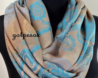 Pashmina Snood, infinity Scarf, loop scarf, circle scarf, Paisley Pashmina Shawl, infinity pashmina, beige blue pashmina scarf