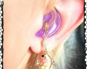 Hearing Aid Charms:  Beautiful Enamel Jeweled Rhinestone Pastel Fish with Silver Plated and Czech Glass Accent Beads!