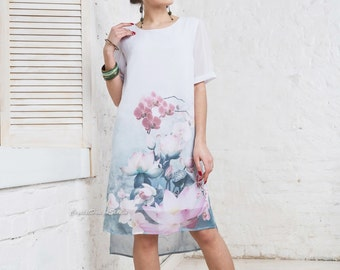 Summer dress floral print Flower white dress short sleeve Midi dress spring White Dress Casual dress women's Loose Gown Summer