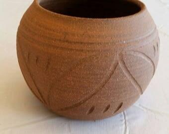 vintage art studio pottery stoneware brown planter pot 1960 's - native american clay ceramic primitive rustic vase floral handcrafted bowl