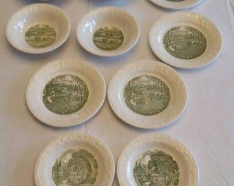 antique 10 piece homer laughlin pastoral dinnerware - saucers bowls & plates -  green transferware farm pictures farming photos art vintage