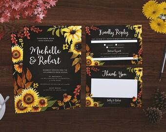 Wedding Invitation | Printable | Flower Wedding | Sunflower Wedding | Custom Wedding | Floral Wedding | Sunflowers | Custom