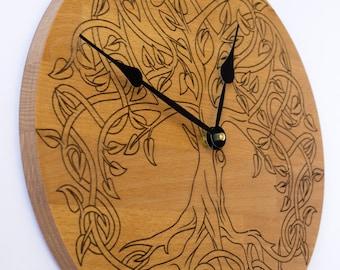 Tree of Life, Sacred Geometry, Lagre wooden Wall Clock, Unique clock, Modern Clock, Wooden Wall Clock, Mandala Wall Clock