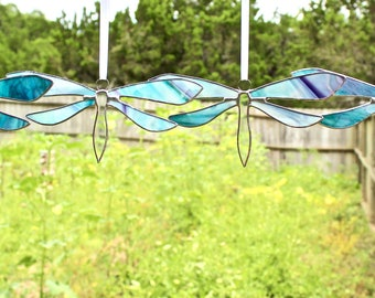 Marbled Flourite Stained Glass Dragonfly Suncatcher