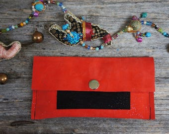 Tobacco pouch, pocket,red leather wallet, straw and black