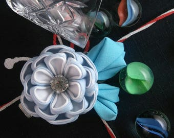Frosty Blue Peony Hair Clip / Tsumami Kanzashi / Frozen Blue / Blue Flower Hair Slide / Geisha Inspired / Wedding Guest Hairpiece
