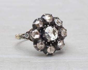 Antique Dutch Rose-cut Diamond  Cluster Ring