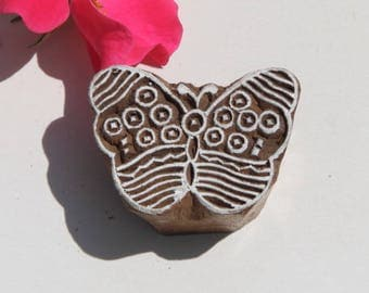 Indian batik wood, print stamp, butterfly print