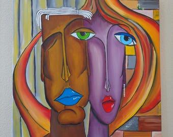 "Painting ""Les amoureux"" painting has oil"