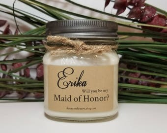 Maid of Honor Candles - Bridal Party - 8oz Bridesmaid Proposal - Wedding Candles - Bridesmaid Gifts - Personalized Candle - Matron of Honor
