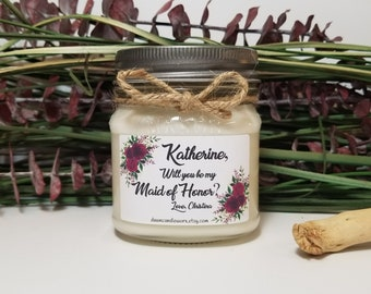 Will You Be My Maid of Honor Gift - Personalized Maid of Honor Candle - 8oz Soy Candles Handmade - Bridal Party Favors - Bridesmaid Proposal