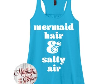 Mermaid Hair and Salty Air, Women's Racerback Tank Top in 9 Colors in Sizes Small-4X, Plus Size