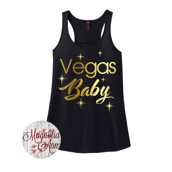 Vegas Baby, Bachelorette, Birthday, Girls Weekend, Women's Racerback Tank Top in 9 Colors in Sizes Small-4X, Plus Size