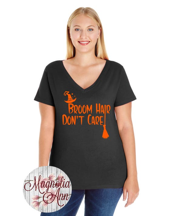 Broom Hair Don't Care, Halloween, Women's Premium Jersey V-Neck T-shirt in Sizes Small-4X, Curvy, Plus Size, In Lots of Different Colors