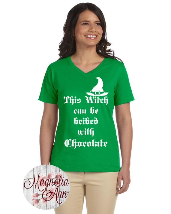 This Witch Can Be Bribed With Chocolate, Halloween,Women's Premium Jersey V-Neck T-shirt in Sizes Small-4X, Plus Size, Curvy, Lots of Colors