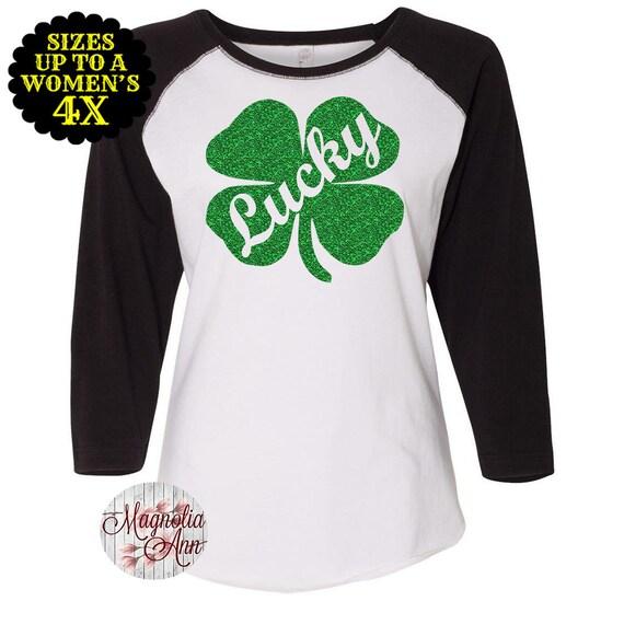 Lucky Shamrock Baseball Raglan T shirt, Sizes Small-4X, St Patrick's Day Shirt, St Patrick's Day Tee, Plus Size Clothing, Plus Size Shirt
