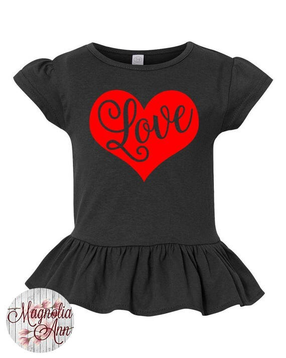 Love Heart Toddler Valentines Day Shirt, Girl Valentines Shirt, Little Girls Ruffle Tee, Ruffled Shirt for Girls, Love Toddler Tshirt