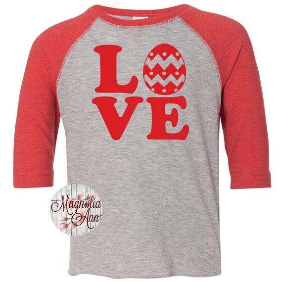 Love Easter Shirt, Kids Easter Shirt , Toddler Easter Shirt, Toddler Easter Raglan, Toddler Raglan, Easter Raglan, Easter Egg Hunting