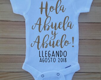 Pregnancy Announcement Onesie®, Hola Abuela y Abuelo Onesie, Grandparent Baby Reveal, Family Baby Reveal, Spanish Pregnancy Announcement