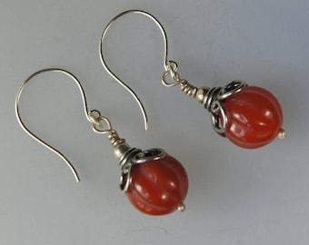 Carved Carnelian Gemstone Sterling Silver Dangle Earrings