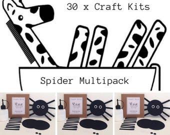 Halloween Spider Kid's Craft Multipack of 30, Party Bag, Incy Wincy Preschool Activity, Nursery Rhyme Book Bag, Screen Free Kit, Die Cut