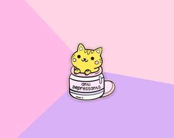 Anti Depressants Cat - Hard Enamel Gold Lapel Pin Kawaii Kitten