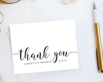 Wedding Thank You Card, Custom Wedding Thank You Cards Modern Wedding Thank You Cards Vintage Modern Script Wedding Cards Amanda3