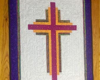 Quilted Cross Wall Hanging, Cross Wall Hanging, Log Cabin Cross, Quilted Cross