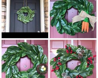 Magnolia Wreath, Easter Wreath, Spring Wreath, Summer Magnolia wreath, Faux Magnolia, Year Round Wreath, Front Door Wreath, farmhouse wreath