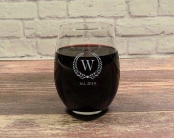 Custom Stemless Wine, Personalized Stemless, Stemless Initial, Stemless Monogram, Wine Gift, Anniversary Gift, Wedding Gift, Wine Glass Gift