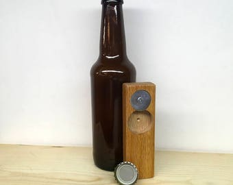 Minimalist Reclaimed Salvaged Oak Wood Bottle Opener