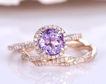 Amethyst Engagement Ring Set Natural Amethyst Ring 6.5m Round Cut Stone Twisted Diamond Wedding Band 14K Rose Gold Promise Ring