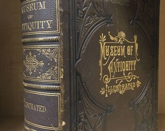 Ancient History book printed in 1882. Huge antique leather and gilt book, steel engravings, woodcuts, Rome Greece Egypt. Museum of Antiquity