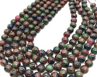 8mm Mosaic Stone Beads, Round Gemstone Beads