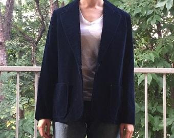 Vintage Women's Navy Blue Velvet Blazer